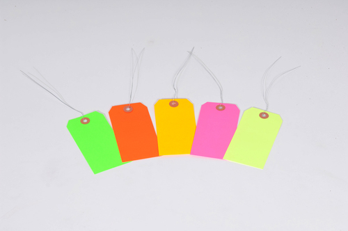 #5 4 3/4″ X 2 3/8″ 13 Pt. Fluorescent Yellow Shipping Tags – Pre-Wired (1000/case)