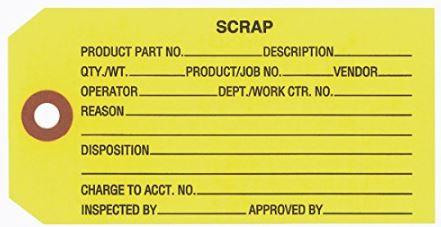 "#5 4 3/4″ X 2 3/8″ 13 Pt. Yellow ""Scrap"" 1-Part Inspection Tags – Unwired (1000/case)"