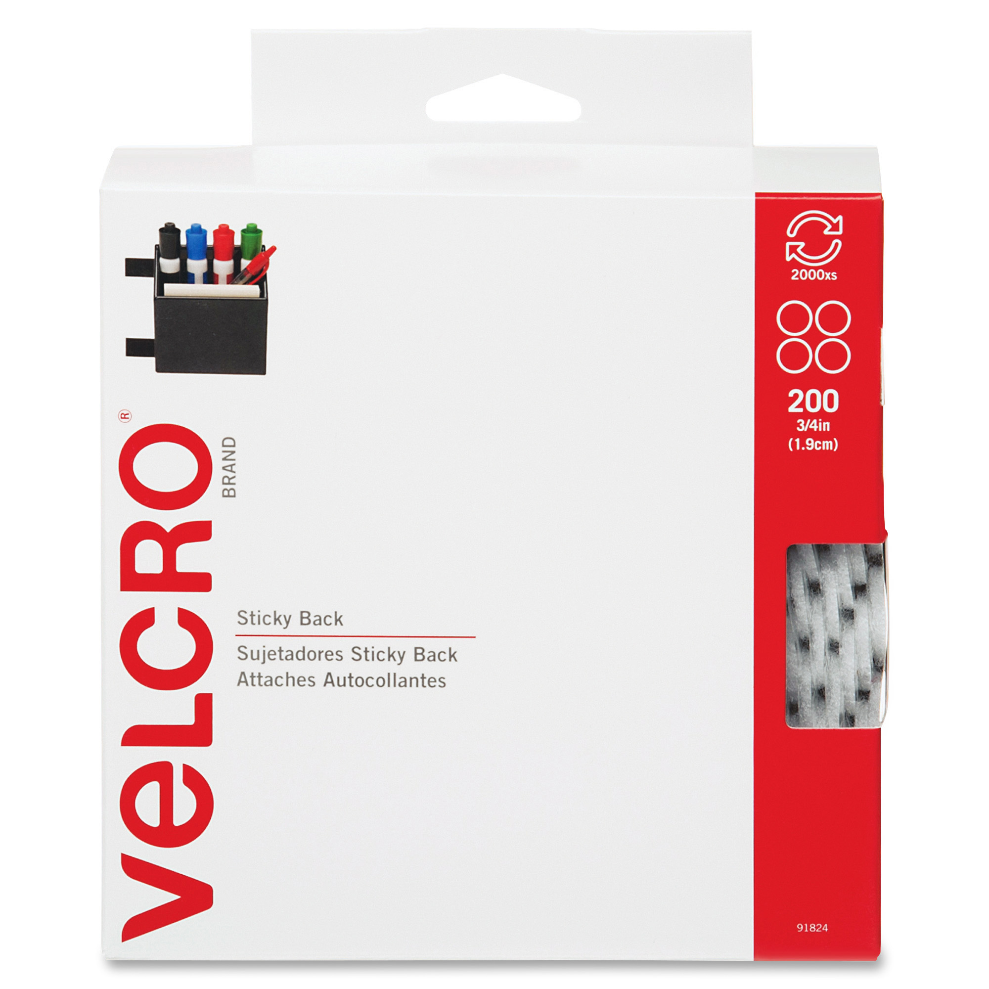 3/4″ White VELCRO® Brand Hook And Loop Dots 200 Each Per Package