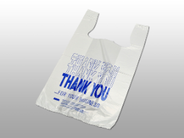 """Thank You"" Pre-printed T-Shirt Bags 11 1/2 X 6 1/2 X 21 1/2″ (1000/case)"